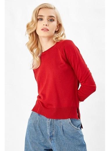 Peraluna Peraluna Kırmızı Renk Bisiklet Yaka Basic Kadın Triko Bluz Kırmızı